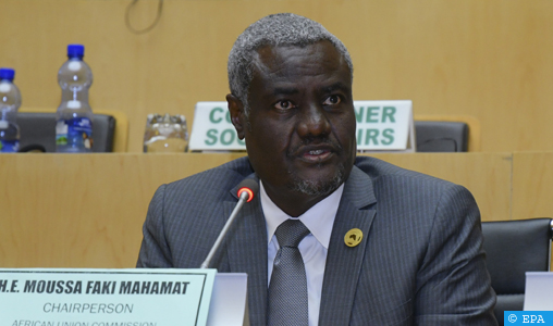 epa06484238 Chairperson of the African Union Commission Moussa Faki Mahamat speaks during the 30th Ordinary Session of the African Union (AU) Summit in Addis Ababa, Ethiopia, 29 January 2018. President of Rwanda Paul Kagame has officially taken over as the new Chairman of the African Union on 29 January. African leaders and the United Nations Secretary-General Antonio Guterres will discuss politcal and security issues under the theme 'Winning the Fight against Corruption: A Sustainable Path to Africa's Transformation'.  EPA-EFE/STR