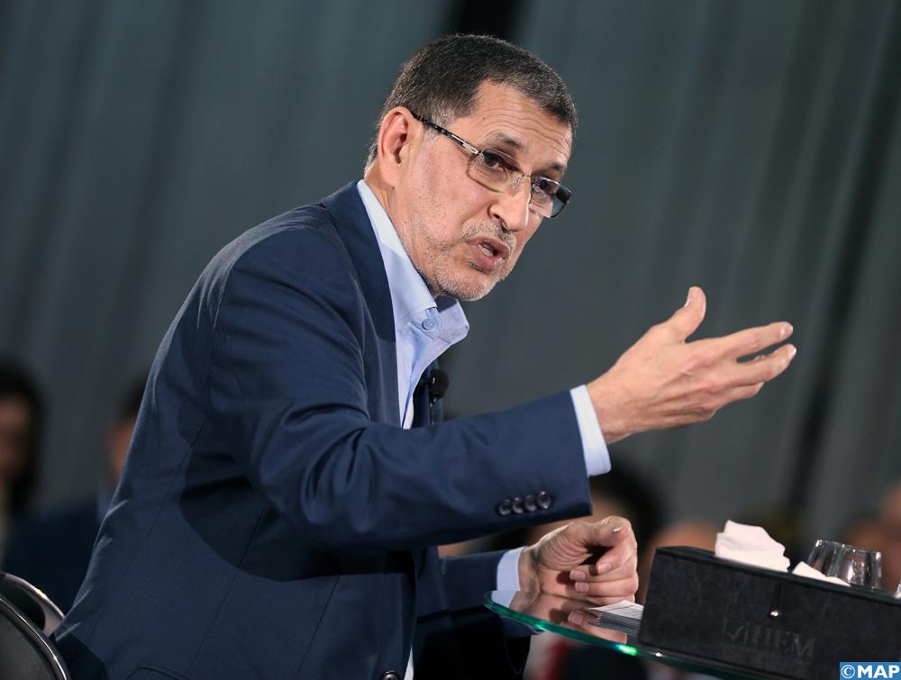 """Le chef de gouvernement Saad Dine El Otmani, intervenant, vendredi (01/02/19) à Casablanca, lors d'une conférence de presse sur les  réformes structurelles conduites par le gouvernement, invité du """"Grand Oral"""" organisé par les Anciens de Sciences-Po au Maroc, en partenariat avec le groupe HEM."""